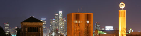A nighttime view of the downtown Los Angeles skyline from campus.